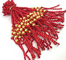 Браслет красная нить    20см  с золотыми бусинами