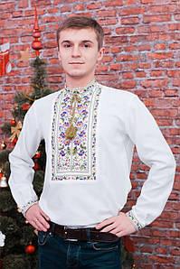 Біла чоловіча вишиванка квітами із домотканого полотна «Ілля»