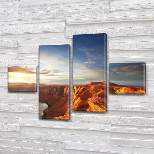 Модульная картина Горы Небо и горные вершины на Холсте син., 50x80 см, (18x18-2/45х18-2), из 4 частей