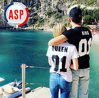 Футболки парные king queen король королева с номерами надписями логотипами на заказ
