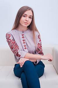 Молодіжна жіноча вишита сорочка із червоною вишивкою у сучасному стилі «Поліна»