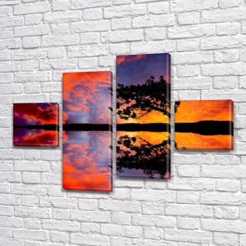 Модульная картина Яркий закат солнца и силуэт дерева на Холсте син., 50x80 см, (18x18-2/45х18-2), из 4 частей