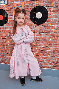 Дитяча вишита сукня у бохо стилі пудрового кольору «Дерево життя»