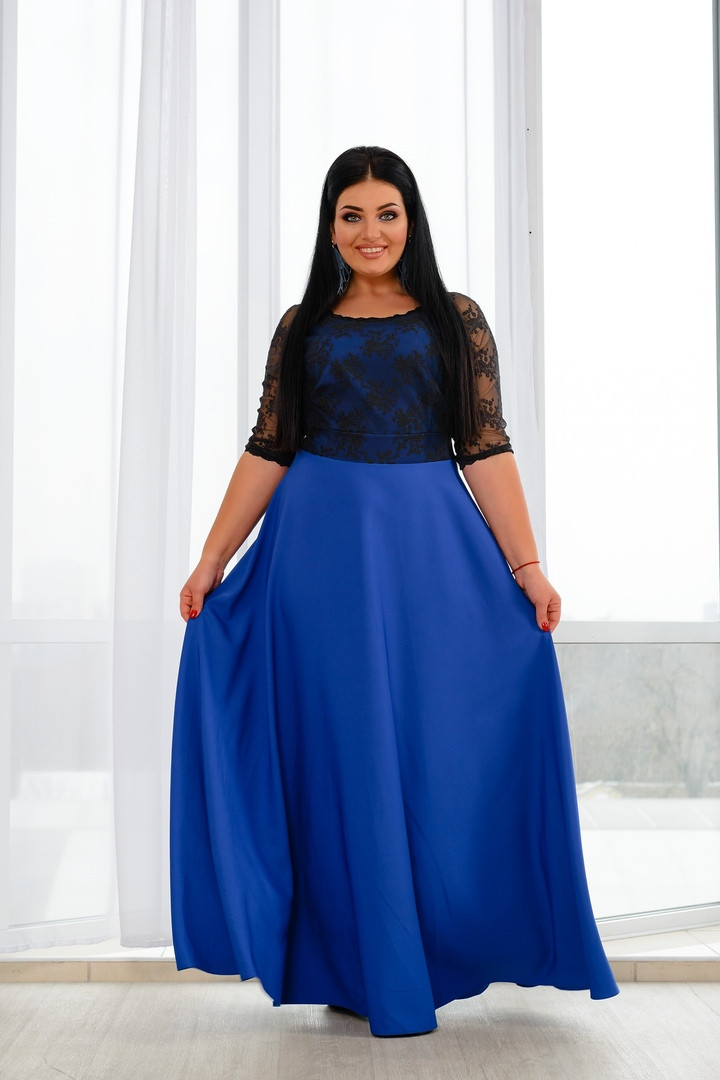 Красивое приталенное платье в пол верх с отделкой из кружева  50,52, 54,56