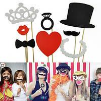 Фотобутафория 8 штук усы и губы на палочках для фотосессии