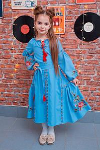 Дитяча вишита сукня у бохо стилі бірюзового кольору «Віра»
