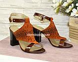 Босоножки женские комбинированные на высоком каблуке, фото 2