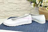 Туфлі-балетки білі шкіряні на товстій підошві, фото 4