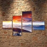 Модульная картина Горы Горные вершины с высоты полета, на Холсте син., 60x85 см, (18x20-2/50х18-2), из 4 частей