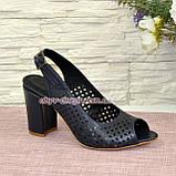 Босоножки женские кожаные на высоком устойчивом каблуке, цвет синий, фото 2