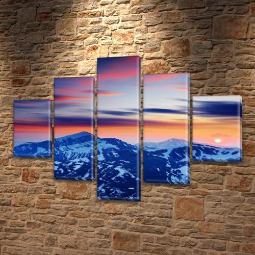 Модульная картина Горы Заснеженные вершины на закате на Холсте син., 65x100 см, (25x18-2/45х18-2/80x18), из 5 частей