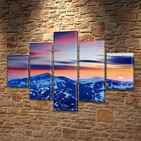 Модульная картина Горы Заснеженные вершины на закате на Холсте син., 65x100 см, (25x18-2/45х18-2/80x18), из 5 частей, фото 1