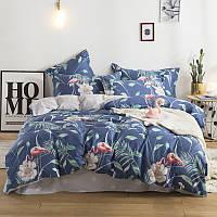 Комплект постельного белья Фламинго и белый цветок (полуторный) хлопок