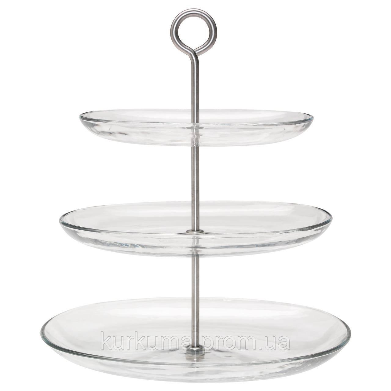 IKEA KVITTERA Подставка для торта, прозрачное стекло, нержавеющая сталь  (902.798.42)