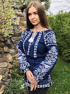 Лляна жіноча вишиванка на довгий рукав синього кольору у бохо стилі «Дерево життя»