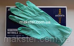 Нитриловые перчатки Akzenta изумрудно-зеленые 100 шт