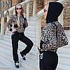 Чорний стильний жіночий трикотажний спортивний костюм з леопардової кофтою з капюшоном. Арт-01000р