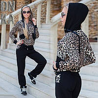 Черный стильный женский трикотажный спортивный костюм с леопардовой кофтой с капюшоном. Арт-01000р