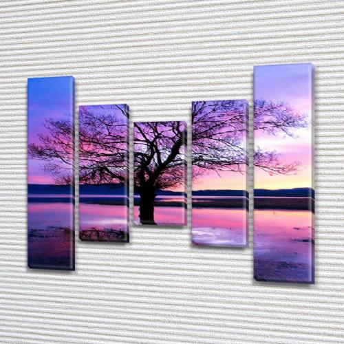 Модульная картина Фиолетовое дерево, на Холсте син., 80x100 см, (80x18-2/55х18-2/40x18), из 5 частей