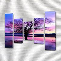 Модульная картина Фиолетовое дерево, на Холсте син., 80x100 см, (80x18-2/55х18-2/40x18), из 5 частей, фото 1