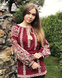 Жіноча блуза із вишивкою у бохо стилі бордового кольору на довгий рукав «Тая»