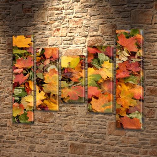 Модульная картина Желтые и красные осенние листья, осень, на Холсте син., 80x100 см, (80x18-2/55х18-2/40x18), из 5 частей