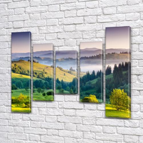 Модульная картина Зеленая долина с холмами и деревьями на Холсте син., 80x100 см, (80x18-2/55х18-2/40x18), из 5 частей
