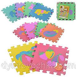 Коврик для малышей M 0376 EVA, Фрукты-животные, 10 дет