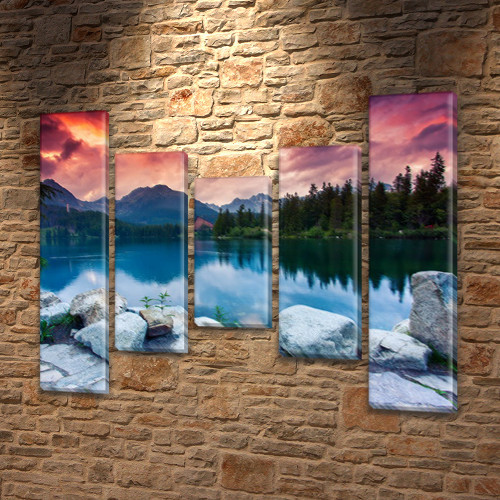 Модульная картина Каменистый берег горного озера на Холсте син., 80x100 см, (80x18-2/55х18-2/40x18), из 5 частей