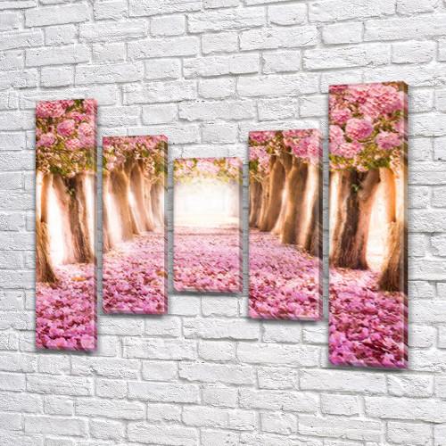 Модульная картина Розовая алея цветущих сакур, акварельные сакуры на Холсте син., 80x100 см, (80x18-2/55х18-2/40x18), из 5 частей