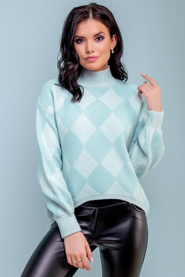 Женский свободный свитер с принтом ромб, голубой, широкий, прямой, повседневный, оверсайз,молодёжный, джемпер