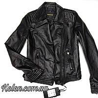 Куртка косуха женская из кожзама черная