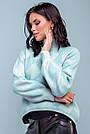 Женский свободный свитер с принтом ромб, голубой, широкий, прямой, повседневный, оверсайз,молодёжный, джемпер, фото 5