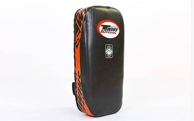 Макивара тай-пэд из кожи (1шт) (18x38x8см) Черный с оранжевым VL-6646
