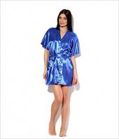Шелковый синий (электрик) халатик кимоно. В розницу и оптом предпостельное женское белье, халатики атлас
