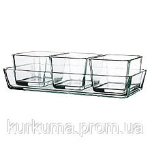 IKEA MIXTUR Термостойкая форма для духовки, набор из 4, прозрачное стекло  (601.016.52)