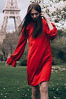 7f336f00f1a Шелковое красное платье AVELINA прямого фасона с рюшами и широкими рукавами  на сборке