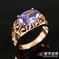 """Кольцо позолота """"Печатка с фиолетовым овальным камнем"""""""