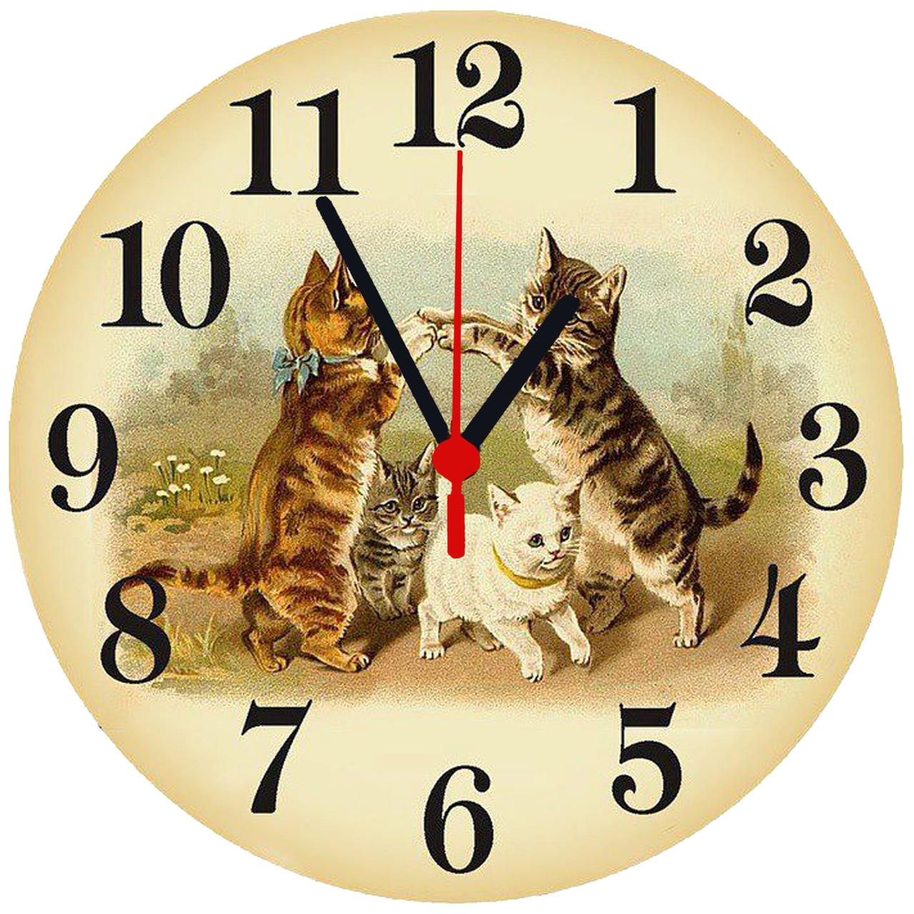 """настенные часы стеклянные круглые """"Котята"""""""