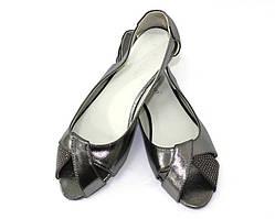 Серебристые женские балетки из эко кожи от 41 до 43 размера