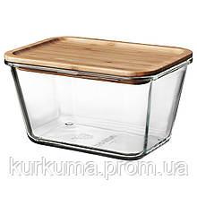 IKEA IKEA365+ Контейнер для продуктов с крышкой, стеклянным прямоугольником, bamboo стеклом  (492.690.68)