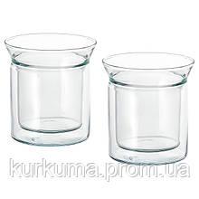 IKEA AVRUNDAD Кружка, двойная стенка, прозрачное стекло  (903.589.81)