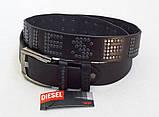 Оригинальный кожаный ремень Diesel для джинс, фото 4
