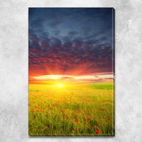 Модульная картина Маковое поле и грозовое небо, на ПВХ ткани, 45х30 см