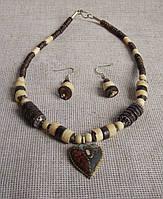 Комплект украшений в этническом стиле ручной работы из кости