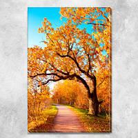 Модульная картина Осенний золотой сад, желтые деревья и голубое небо, на ПВХ ткани, 45х30 см , фото 1