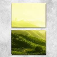 Модульная картина Чайные плантации, зеленые холмы Шри-ланки, на ПВХ ткани, 63х45 см, (30х45-2), из двух частей