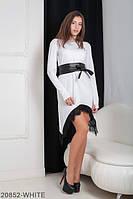 Эффектное свободное платье с удлиненными уголками и гипюром на юбке Stima