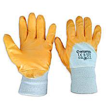 Защитные перчатки хб, на ладони нитриловый облив INTERTOOL SP-0110, № 10, уп. — 12 пар