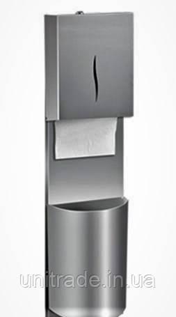 Диспенсер металлический для листовых  полотенец с корзиной
